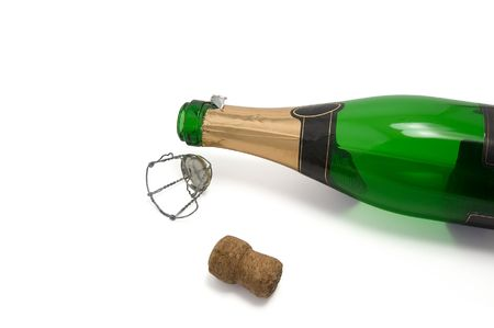 Empty bottle of champagne after the New Year's Eve Stock Photo - 6121761