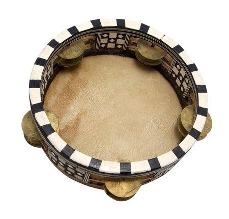 Tambourine isolated on white background photo