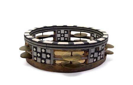 tambourine: Pandereta �rabe sobre fondo blanco  Foto de archivo