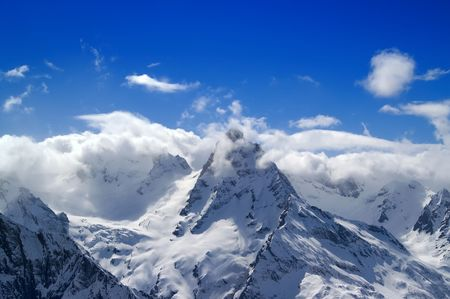 snow capped: Caucasus. Dombay. Belalakaya. Stock Photo