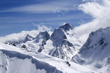 snow capped: Caucasus Mountains. Dombai. View from the top of Musa Achitara.  Stock Photo