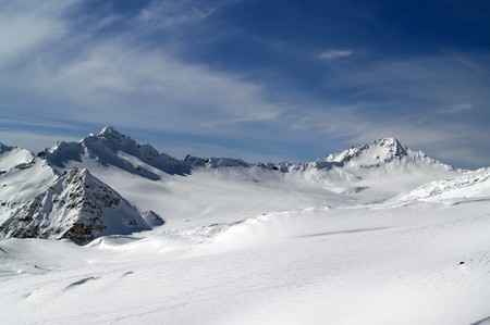 Caucasus Mountains. View from the ski slope of Elbrus