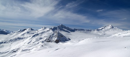 snow capped: Panorama Caucasus Mountains. View from the ski slope of Elbrus
