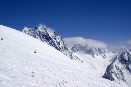 Ski slope. Dombay. Caucasus. photo