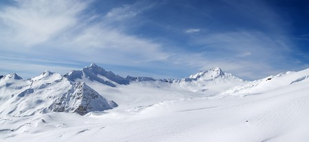 Panorama Caucasus Mountains. Elbrus Region. Ski resort. Stock Photo - 7942049