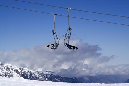 Chair-lift. Ski resort. Dombay, Caucasus Mountains. photo