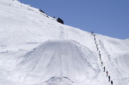 Big Air. Ski resort Dombay, Caucasus Mountains. Stock Photo - 7942045