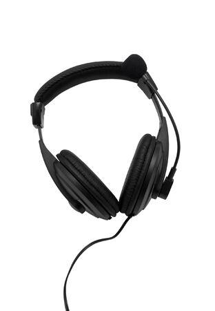Black headphones isolated on white background Stock Photo - 8032341