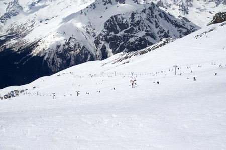 View of the ski resort. Caucasus Mountains, Dombay. Stock Photo - 8217560
