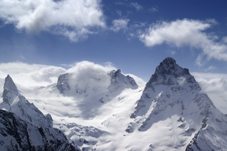 dombai: Caucasus Mountains. Dombai Stock Photo