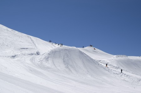Big Air. Ski resort. Caucasus Mountains, Dombay. Stock Photo - 8217564
