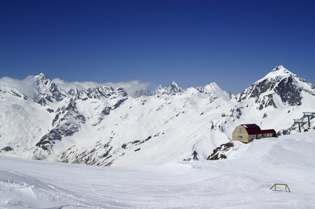 Ski resort. Dombay, Caucasus Mountains Stock Photo - 8304003