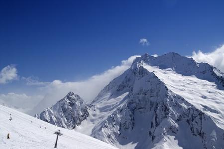 Ski slope. Ski resort Dombay, Caucasus Mountains. Stock Photo - 8354506