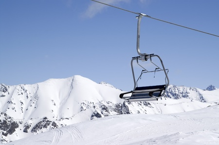 Chair-lift at ski resort Dombay, Caucasus Mountains. Close-up. Stock Photo - 8354505