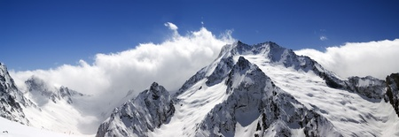 dombay: Mountain panorama. Caucasus, Dombay. View from the ski slope.