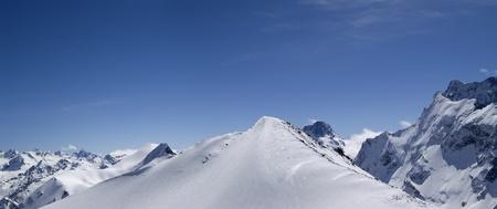 musa: Panorama Caucasus Mountains, Dombay, top of Musa Achitara. Slope for freeriding.