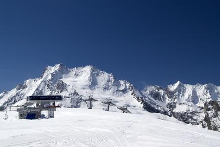 Station of ropeway. Ski resort Dombay. Caucasus Mountains. Stock Photo - 8709209