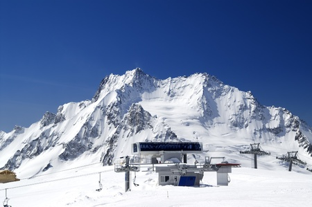 Station of ropeway. Ski resort. Caucasus Mountains, Dombay. Stock Photo - 8802671
