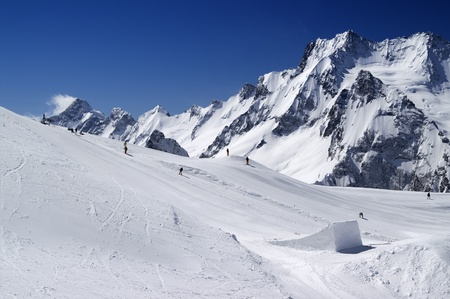 Snowboard park. Caucasus Mountains, ski resort Dombay. Stock Photo - 8802678