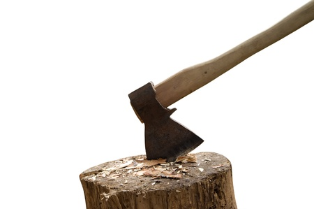 Axe and log isolated on white background photo