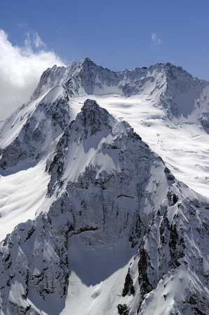snow capped: High mountains. Caucasus, Dombay, Peak Ine. Stock Photo