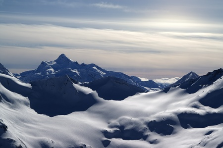 Caucasus Mountains. View from Elbrus in evening. Stock Photo - 9054463