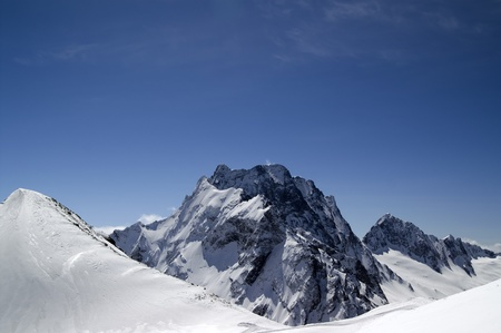musa: Caucasus Mountains. Dombay, mount Musa Achitara and Dombay-Ulgen. Stock Photo