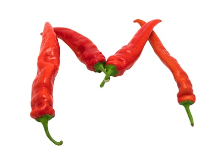Letter M composed of chili peppers. Isolated on white background. Stock Photo - 9129882