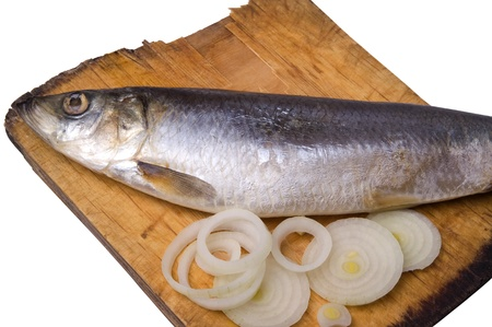 Herring with onion on old wooden board photo