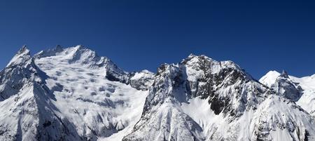 dombai: Panorama Caucasus Mountains. Dombai.
