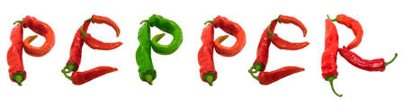 PEPPER text composed of chili peppers. Isolated on white background. photo