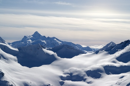 snow capped: Caucasus Mountains. View from Elbrus.