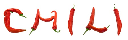 CHILI text composed of chili peppers. Isolated on white background. photo