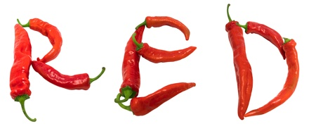 RED text composed of chili peppers. Isolated on white background. photo