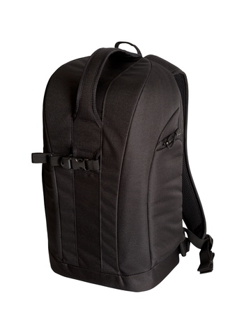 packsack: Black photo backpack isolated on white background