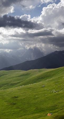 Tent in mountains. Caucasus Mountains, Georgia. Stock Photo