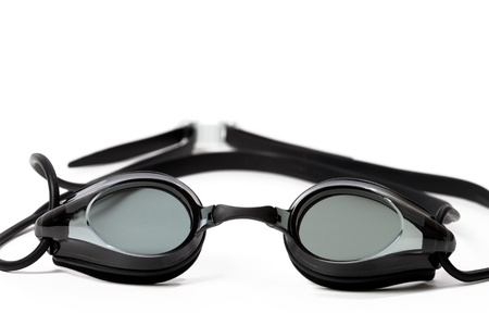 tinted glasses: Goggles for swimming on white background