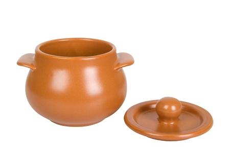 Kitchen clay pot isolated on white background photo