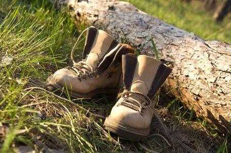 aslant: Pair of trekking boots in forest near fallen tree
