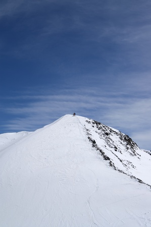 Slope for freeriding. Caucasus, Dombay, top of Musa Achitara. photo