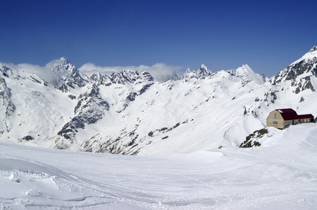 Ski resort. Caucasus Mountains, Dombay.