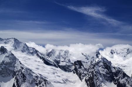 dombai: Mountains in cloud. Caucasus, Dombai.