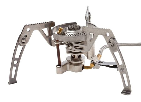 Camping gas stove isolated on white background photo