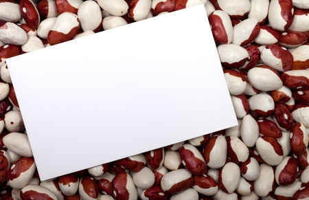 Haricot beans background with empty price card Stock Photo - 11413243