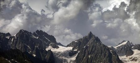 svaneti: Panorama cloudy mountains. Caucasus Mountains. Georgia, Svaneti Stock Photo