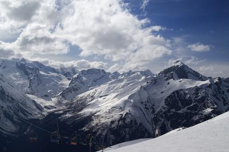 Ski slope. Winter resort Dombay, Caucasus Mountains. photo