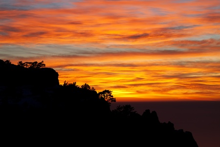 headland: Beautiful sunset in Crimea rocks