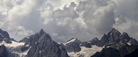 Panorama cloudy mountains. Caucasus Mountains. Georgia, Svaneti photo