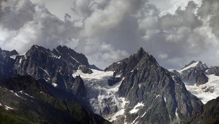 svaneti: Cloudy Mountains. Caucasus Mountains. Georgia, Svaneti Stock Photo