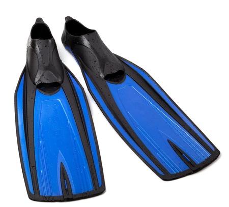 Swim fins on white background Stock Photo